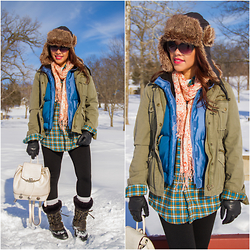 Lily S. - J.Crew Parka Coat, Gap Puffer Vest, Sorel Winter Boots, Ozark Trail Flannel Plaid Shirt, Bueno Mini Backpack, Concept One Faux Fur Trapper Hat - Snow Day