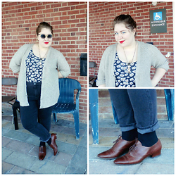Bridie D. - Forever 21 Bodysuit, American Eagle Outfitters Jeggings, Dorothy Perkins Cardigan, Modcloth Sunnies, Cole Haan Shoes - FINE AND DANDY