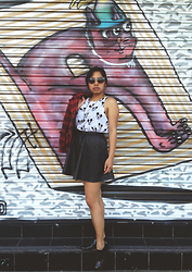 AUIE Robrigado - Jayjays Mickey Mouse Top, Glassons Leather Skirt, Schucco Brogues, Chicabooti Jacket - Cat & Mouse