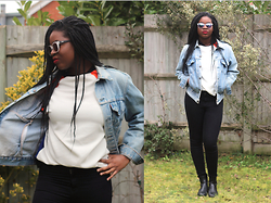 Adeola A. - Quay Sunglasses, Primark Jumper, Boohoo Jeans, Levi's® Denim Jacket, Linzi Boots - Welcome to the party