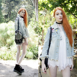 Olivia Emily - Unif Fornever Denim Jacket, Rebecca Minkoff Studded Backpack, Killstar Clear Quartz Serpent Necklace, Unif Stray Jumper, Dr. Martens Velvet Molly Boots - Fornever Stray.