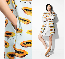 Alyssa Lau - New Classics Studios Papaya Print Coat, New Classics Studios Shirtdress - Papayas Part 1