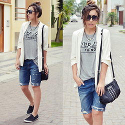 Yayi Schulz - Zara T Shirt, Kenneth Cole Bag, Forever 21 Blazer, Zara Bermuda - FIND JOY IN THE ORDINARY THINGS