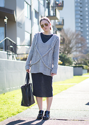 Jenaly Enns - Minusey Chunky Knit Sweater, Zara Oversized Loose Long Sleeve Dress - Layers