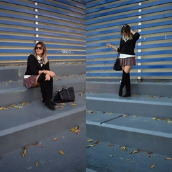 Mish Sky' - Pull & Bear High Knee Boots, Tommy Hilfiger Black Purse, Forever 21 Plaid Skirt, Zara Black Sweater, Zara Neacklace, Céline Cat Eye - Street Style