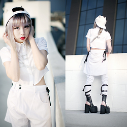 Essy Noir - Missguided Collared Crop Top, Deandri Clear Collness Harness, Os Accessories White Bull Cap, Long Clothing White Clip Pants, Unif Boyle Platform - So Long