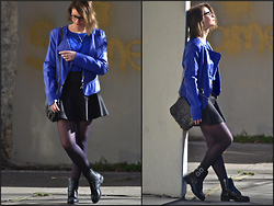 Joanna P. - New Yorker Perfecto, Mango Sweater, Asos Neopren Skirt, H&M Rangers, Rockmafia Leather Bag - Sunny Day