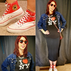 Melanie. Ps - Converse High Top Chuck Taylors, Vero Moda Pencil Skirt - I Love New York!