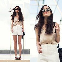 Anouska Proetta Brandon - River Island Top, Karen Walker Sunglasses, River Island Shorts, S E N O Shoes, River Island Fringe Bag - Natural Palette