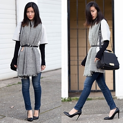 Claire Liu - Gap Scuba T Shirt Dress, Zac Posen Bag, J Brand Skinny Jeans - Scarf, belt, dress