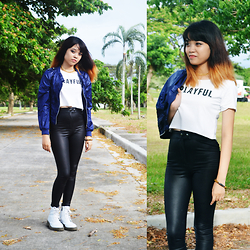 Alixandrea O. - Chic Boxroom Playful Middrift, Blue Bomber Jacket, High Waist Leather Jeggings, Chic Boxroom White Combat Boots, Tee Scout Chain Choker - Playful Bomber