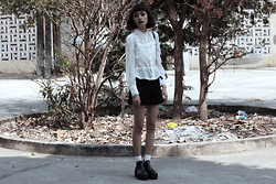 Vu Thien - Thrift Store Blouse, Thrift Store Skirt, Young Hungry Free Boots - EVERYTHING IS ILLUMINATED