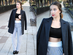 Claudia Villanueva - Mango Grey Coat, Asos Black Crop Top, Zara Stripped Pants, Boohoo Ankle Boots - Simplicity