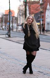 Lilia - H&M Cowl Neck Sweater, H&M Knee High Boots, H&M Skater Skirt - ALL H&M