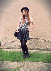 Tereza Saki - Topman T Shirt With Rude Boys, Hearts & Bows Leatherette Skirt, Gate Black Tights, H&M Black Heels, New Yorker Black Satchel, H&M Black Hat, Tally Weijl Silver Ring, Gate Silver Ring With Cross, H&M Silver Studded Ring - Rude Boys