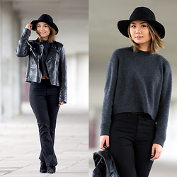 May B. - Weekday Hat, Monki Cropped Sweater, Weekday Flare Jeans, Zara Pointy Heels, Mango Leather Biker Jacket - BIKER JACKET & FLARED JEANS / OHMAYGOD.com