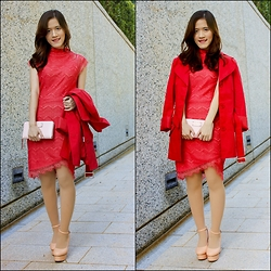 Winda Octavia - Zalora Lace Turtle Neck, Vila Coat - Love and Prosperity