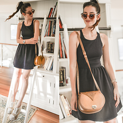 Elle-May Leckenby - Tan Sling Bag, Navy Cross Back Dress, Tan Framed Sunglasses - Brighten the place