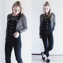 Magna G. - Striped Sweater, Black Denim Overalls, S E N O Pointed Patent Flats - Black denim overalls