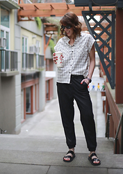 Anne Dofelmier - Necessary Clothing Windowpane Shirt, Topshop Track Pants - WINDOWPANE CHECK WITH NECESSARY CLOTHING