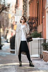 Ania B - 424 Fifth Trench, 424 Fifth Shirt, 424 Fifth Skirt, Aldo Boots, Céline Sunnies, Proenza Schouler Bag - NYFW with 424 fifth