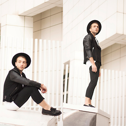 Jorge Barceló - Topman Jacket, Acne Studios T Shirt, Dr. Martens Shoes - BLACK, ALWAYS @ WWW.JUICYGUILE.COM