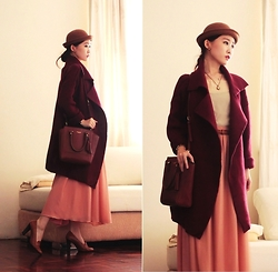 Jasmine L - Sheinside Burgundy Coat, Coach Tassel Bag, Summit Heeled Loafers, Cor Date Pearl Necklace - BURGUNDY