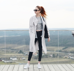 Ebba Zingmark - Urban Outfitters Trench, Urban Outfitters Bag, Triwa Sunnies, Urban Outfitters Shirt, Cheap Monday Jeans, Adidas Sneakers, Primark Top - But we'll figure this out