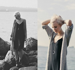 Bethany Aeckersberg - Babaton Black Dress, Noul Grey Knit Cardigan, Sarah Mulder Jewelry - Mermaiding