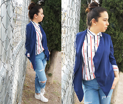 Nelly Ojeda - Local Boutique Sheer Blazer, Thrifted Sporty Blouse, Ralph Lauren Vintage High Waisted Jeans, Nike White Sneakers - How I Style the Unique and Sporty Blouse