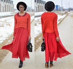 Sushanna M. - Anthropologie Orange Crop Sweater, High Waisted Maroon Maxi Skirt, Black Gold Gilded Buckled Satchel, Black Knee High Pull On Wooden Heel Boots - Sangria