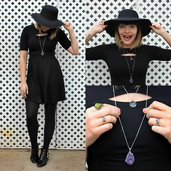Magnolia Rose - Boohoo Imogen Floppy Flannel Hat, Xhilaration Split Black Dress, Boohoo Kate Buckle Trim Patent Ankle Boot, Various Brands Jewelry - Rock It Like A Witch