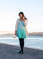 Carina Chung - Asos Cyan Grid Dress, Primark White Fluffy Cardigan, Primark Leggings, Ecco Shoes Black Booties - Spring Came Early