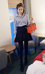 Miamiyu K - Miamasvin Pleated Stripe Shirt, Miamasvin Ruffled Sides Skater Skirt, Miamasvin Ribbon Mary Jane Shoes - Oxford
