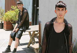 J. Sandoval Gomez - Topman Vegan Leather Shorts, Zara Cut Out Boots, H&M Razor Back Tank, Love Culture Mesh Hoodie - 03052015 Summer Mesh