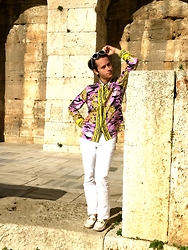 Gio' Mori - Giorgio Armani Emporio Sunglasses, Versace Collection Silk Shirt, Versace Collection White Denim Jeans, Gucci Loafers - Athens, Greece