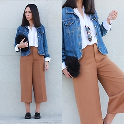 Esther L. - Oasap White Fluid Shirt, H&M Fluffy Bag, H&M Round Carey Sunglasses, Zara Camel Culottes - CAMEL CULOTTES