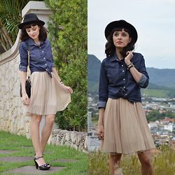 Diana Schneider - Dzarm Hat, Maspem Denim Shirt, Wj Bag, Absolutely & Faith Dress, Petit Jolie Sandals - One Wish