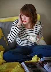 Anne Dofelmier - Boden Breton Stripes, J Brand Flared Jeans - A BRETON STRIPE, A CUP OF TEA, AND A GOOD BOOK