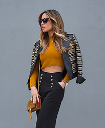 Jessi Malay - Bcbg Leonardo Jacket, Misha Collection Katia Palazzo Pants, Topshop Ribbed Funnel Neck Crop Top, Saint Laurent Suede Tassle Crossbody Bag, Anine Bing Copenhagen Sunglasses, Mwt X Renvi Aventine Pendant Necklace, Daniel Wellington Classic Lady Sheffield Watch - Black & Gold