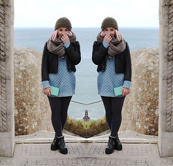 Alex MacEachern - Topshop Green Knitted Bobble Hat, Everything5pounds Grey Knitted Snood Scarf, Topshop Black Leather Jacket, Linea Weekend Baby Light Blue Knitted Jumper, Iswai Mint Green Purse, Topshop Dark Blue Jeggings, Spylovebuy Black Platform Boots - Is It Late Enough.