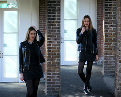 Anita Fosen - Cubus Leather Jacket, Girl In Mind Dress, Topshop Cut Out Boots - ALL BLACK