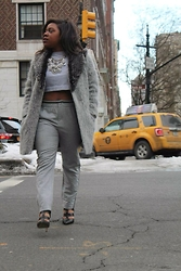 Christian Riley - Forever 21 Sweatshirt Crop Top, Zara Sweatpant Trousers, Zara Fuzzy Coat, Aldo Cage Heels - 50 Shades of Grey