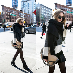 TIPHAINE MARIE - Sweater, Skirt, Scarf, Bag, Boots - Morning light in NYC.