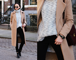 Bea G - Coat, Sweater, Jeans, Bag, Shoes, Watch - Chunky Knit
