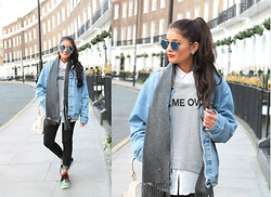 Cátia Sousa - Zerouv, Levi's® Vintage Denim Jacket, Tommy Hilfiger Old Grey Scarf, Personalitee Game Over Sweater, Adidas Zx Flux, Primark Jeans - NPV | London
