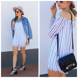 Emily S - Cotton On Dress, S E N O Heels, Proenza Schouler Bag, Ray Ban Sunglasses - Stripes + Denim