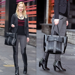 Megan Knight - Zac Posen Bow Bag, Le Chateau Studded Ankle Boots, Dynamite Pants With Faux Leather Panels, Dynamite Black Blazer - Panels & Stripes