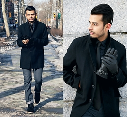 Jorge Gallegos - Perry Ellis Overcoat, Perry Ellis Leather Gloves, Perry Ellis Suede Boots - Meanwhile in New York City