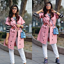 Surbhi Suri - Mango Trench Coat, Nuon White Denims, Venus Wedges, Platinum Mall Singapore Denim Sling Bag, Westside Striped Tee, Platinum Mall Bangkok Necklace, Thrifted Delhi, Janpath Belt - Trendy ways to Wear a Trench